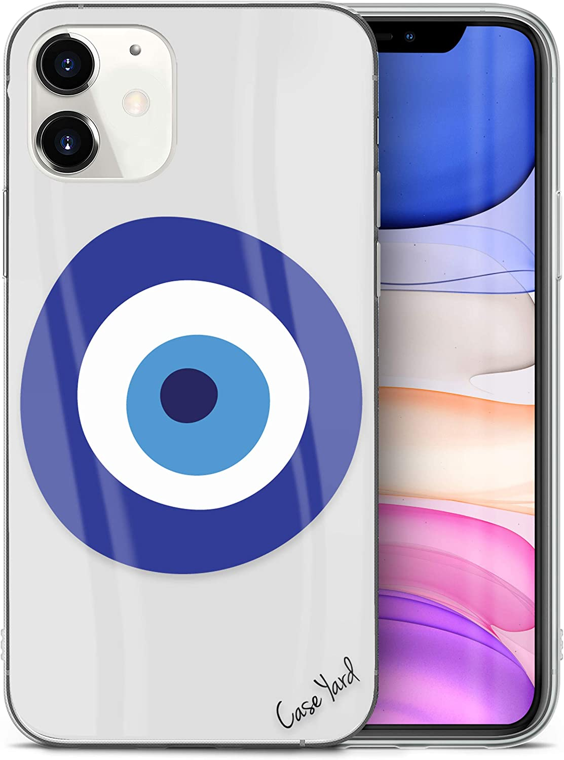 CaseYard Clear Soft & Flexible TPU Case for iPhone 11 - Ultra Low Profile Slim Fit Thin Shockproof Transparent Bumper Protective Cover Drop Protective Case (Evil Eye)