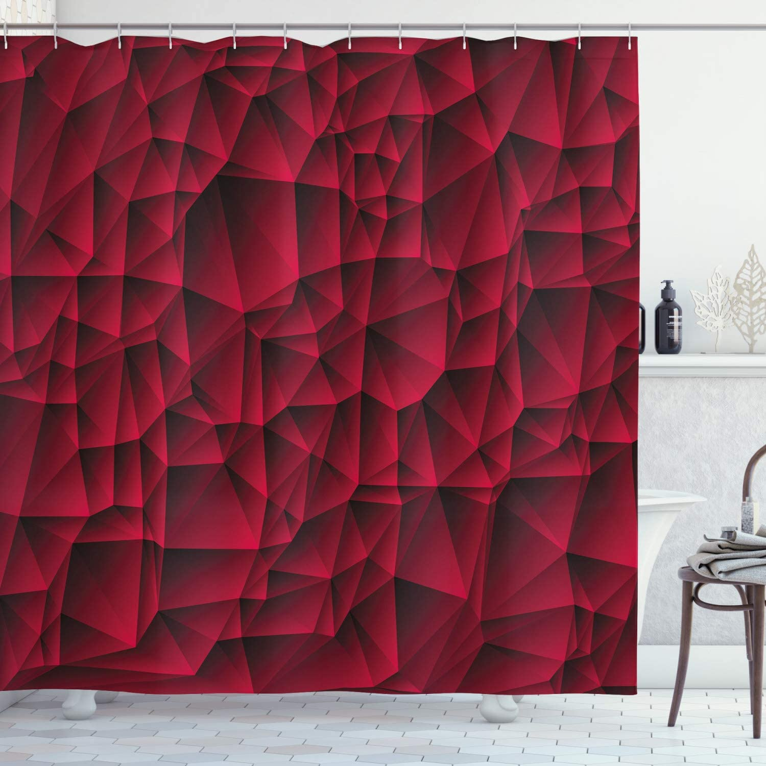 Ambesonne Maroon Shower Curtain, Modern Geometric and Contemporary Art Wave Like Shapes with The Abstract Backdrop of an Image Print Art, Cloth Fabric Bathroom Decor Set with Hooks, 70