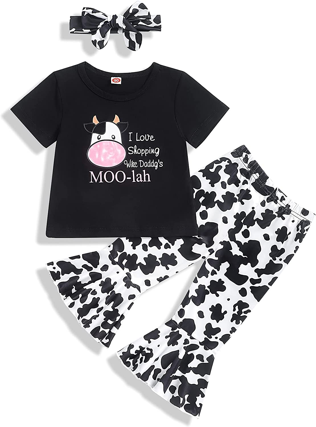 Xuuly Baby Girl Clothes Toddler Short Sleeve Funny Letter Top Floral Pants 2Pcs Summer Outfit Sets