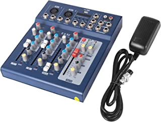 VEVOR 4 Channel Audio Mixer with 48V Phantom Power Mixing Console USB MP3 Audio Sound Mixer for Recording DJ Stage Karaoke Music Appreciation