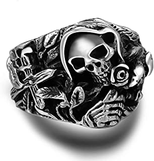 LH&BD 925 Anelli di Cranio Argento per Uomini con Fiore Croce Che ululano Aquila Vintage Punk Rock Thai Argento Gothic Ane...