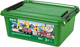 BRIO 33097 Cargo Railway Deluxe Set   54 Piece Train Toy with Accessories and Wooden Tracks for Kids Age 3 and Up
