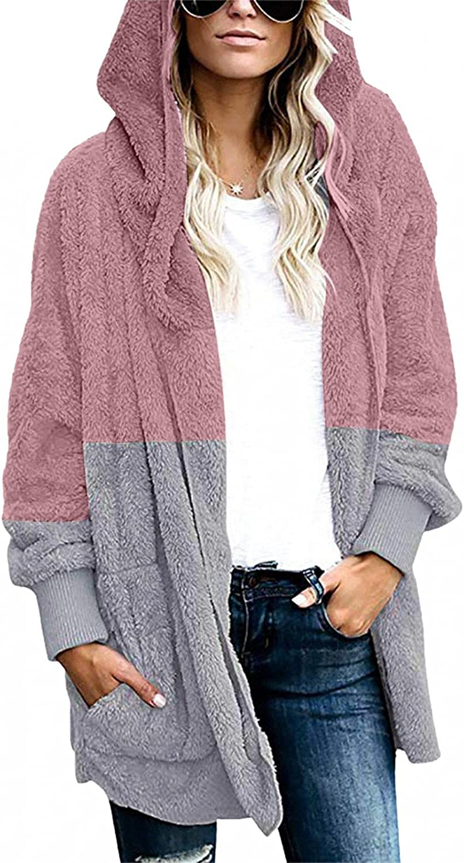 Womens Fuzzy Fleece Hoodie Sherpa Jackets Fluffy Sweatshirt Cardigan Coat Zipper Warm Oversized Outwear Jacket with Pockets