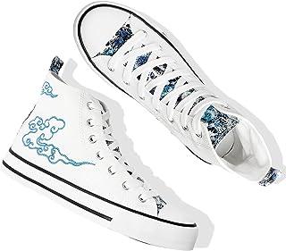 أحذية رياضية نسائية من القماش الكتاني عالية الجودة برباط من ياجي ان للنساء كاجوال كلاسيكي, (أبيض وأزرق), 37 EU