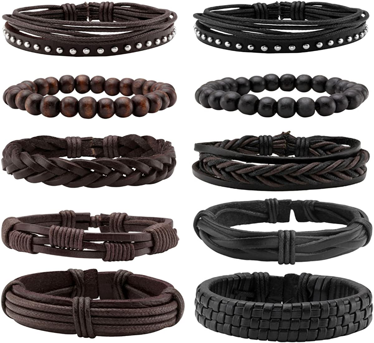 Eigso 10Pcs Braided Leather Bracelets Set for Men Women Hemp Cords Wooden Beads Adjustable Wrap Bracelets