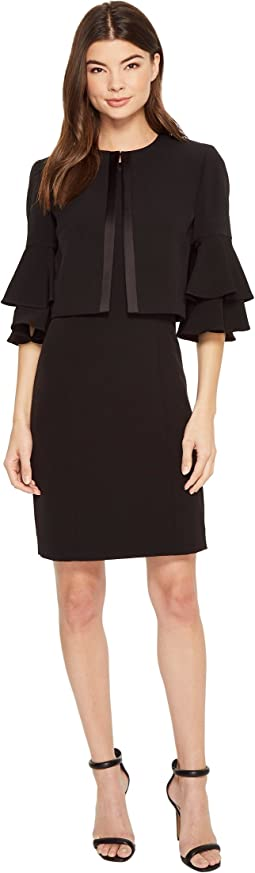 Tahari by ASL Ruffle Sleeve Jacket Dress Set