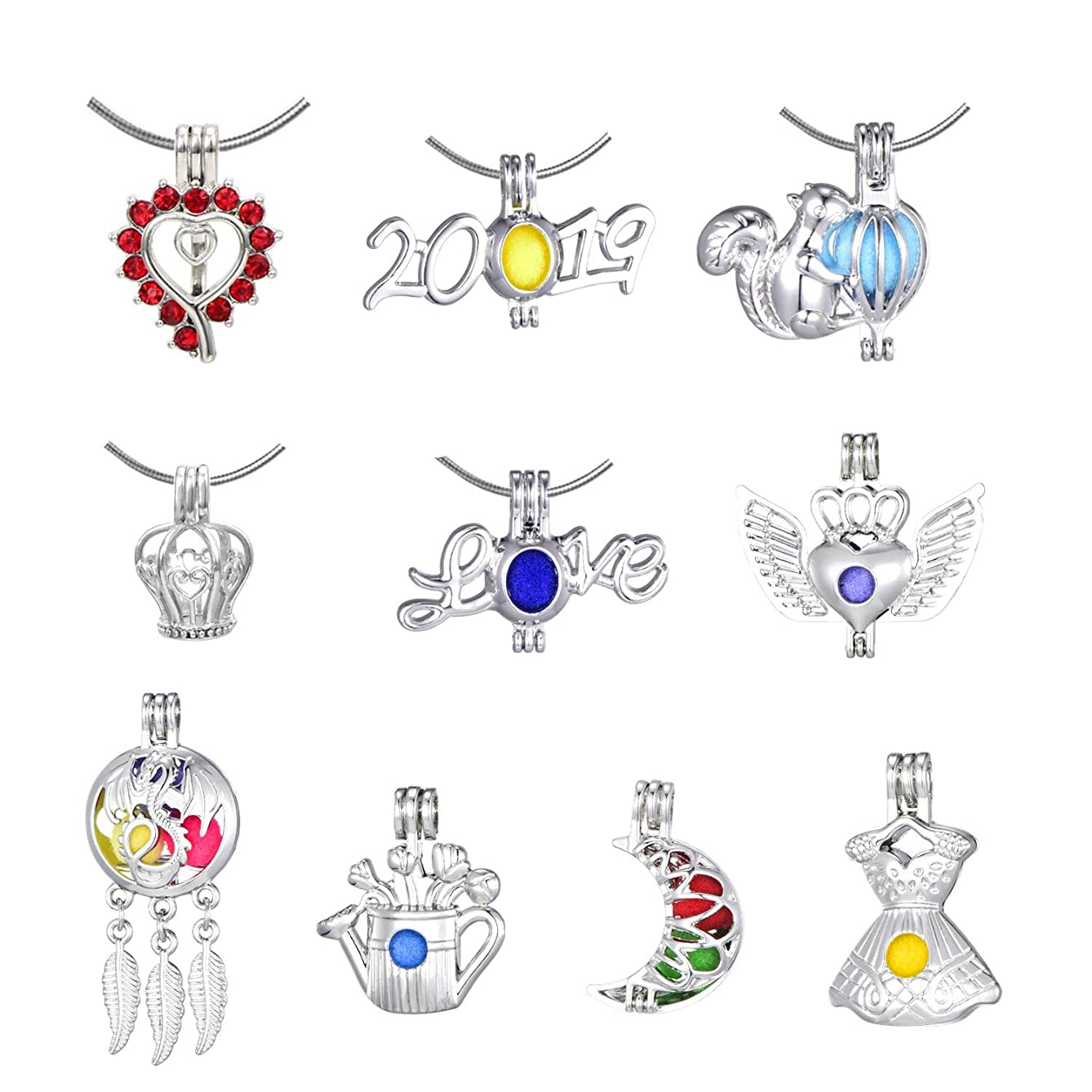 New Arrival 10Pcs Pearl Bead Cage Pendants White Gold Plated Hollow Aromatherapy Essential Oil Diffuser Locket Pendant for Jewelry Making(Style10)