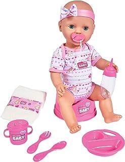 Simba Toys 105039005 - New Born Baby Interaktiv Bebisdocka Rosa - 43 cm, äta- & väta Funktion, Tillbehör, 8 Delar, Från 3 år