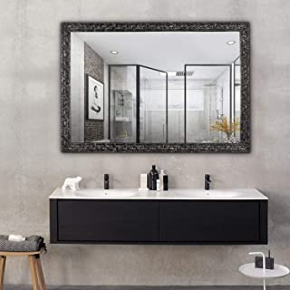 Hans&Alice Beveled Bathroom Mirrors Wall Mounted, Antique Black Frame Mirror for Bathroom, Bedroom, Living Room Hanging Horizontal or Vertical Commercial Grade 90+ CRI (38'' x 26'')