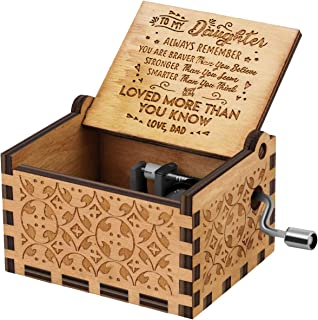 U R My Sunshine Music Box Wooden Laser Engraved Vintage Musical Gifts to Daughter from dad on Birthday Thanksgiving days Christmas(You are stronger than)