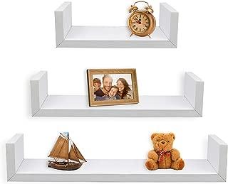 Greenco Set of 3 Floating U Shelves, White Finish
