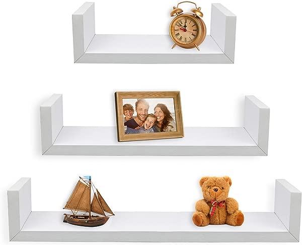 Greenco Set Of 3 Floating U Shelves White Finish