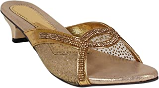 Footshez Women's Golden Heel Sandal