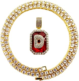 Iced Out Hip Hop Bling Gold Lab Ruby Diamond Initial Letter A to Z Tennis Chain Necklace 22 Inch