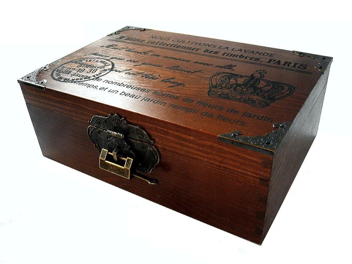 広い剣再編成するr_planning (アールプランニング) アンティーク調 木製 鍵付 ボックス レトロ ビンテージ調 装飾 小物入 25cm巾 大きめサイズ