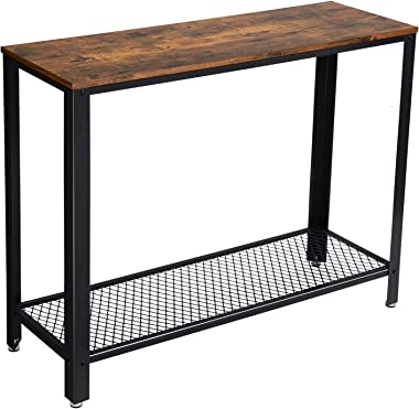 VASAGLE Console Table, Sofa Table, Metal Frame, Easy Assembly, for Entryway, Living Room, Rustic Brown ULNT80X