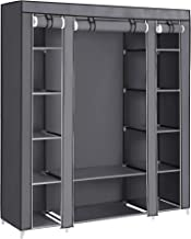 SONGMICS 59 Inch Closet Organizer Wardrobe Closet Portable Closet shelves, Closet Storage Organizer with Non-woven Fabric, Quick and Easy to Assemble, Extra Strong and Durable, Gray ULSF03G