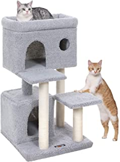 FEANDREA Cat Tree, Cat Tower with Large Viewing Perch, Cat Condo in Faux Fleece, Two Cuddle Caves, for Kittens and Old Cats, Posts Completely Wrapped in Sisal, Stable, Light Gray UPCT69W