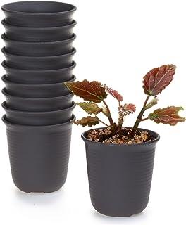 T4U 8CM プラスチックミ二植木鉢 ラウンド 多肉植物 サボテン鉢 フラワーポット プランター容器 ダークブラウン 10個入り