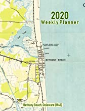 2020 Weekly Planner: Bethany Beach, Delaware (1943): Vintage Topo Map Cover
