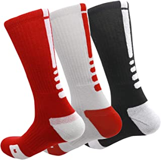 MUMUBREAL Elite Basketball Socks Cushioned Athletic Crew Socks Thick Compression Sports Socks for Men & Women