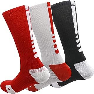 MUMUBREAL Men's Basketball Socks Cushioned Dri-Fit Athletic Crew Socks