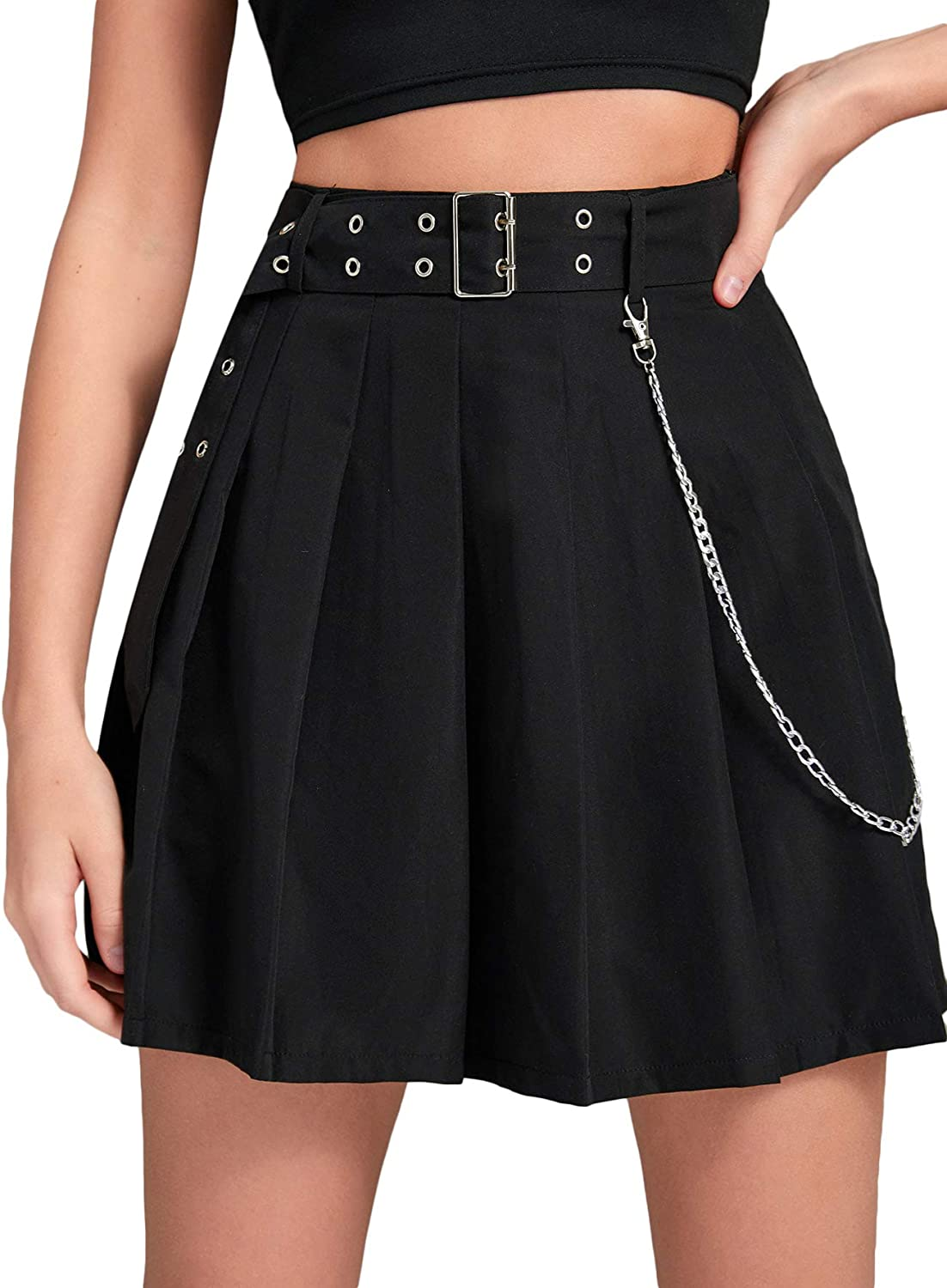 Milumia Women High Waisted Pleated Mini Skirt Eyelet Belted A Line Flared Skirt
