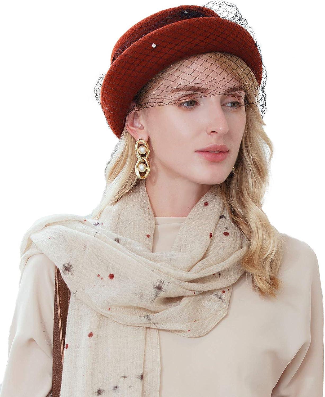 F FADVES Women's Vintage Fedoras Wool Felt Veil Hat Cloche Bucket Bowler Fascinators Kentucky Derby Fedora