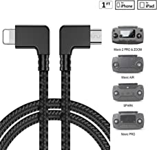 DJI Spark 1FT 90 Degree Micro USB to iOS Phone Tablet OTG Data Cable Right Angle Connector Cord, Mavic Pro, Platinum, Air, 2 Pro, Zoom Remote Controller Accessories (1 Pack)