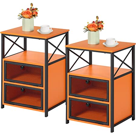 VECELO Modern Night Stand, End Side Table with Storage Space and Door, Nightstands with Flip Drawers for Living Room,Bedroom,Lounge,Set of 2, Orange