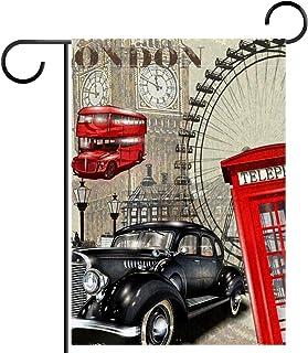 Vintage London Big Ben Bus Telephone Hebe Pattern Garden Flag, Double Sided Garden Outdoor Yard Flags for Summer Decor 28x...