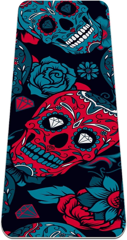 FAAXDIQ Tulsa Mall Yoga Mat Day of The Skull Sugar Rose 25% OFF Reversible Ex