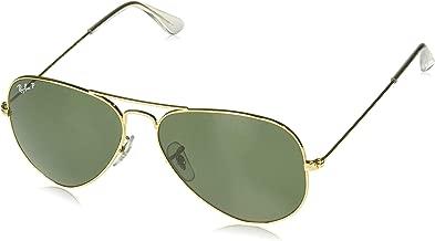 RAY-BAN Polarized Aviator Sunglasses, Gold, 58 mm