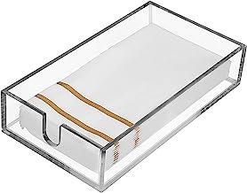 Guest Towel Napkin Holder – Acrylic Bathroom Holder for Disposable Hand Towels – Clear Paper Towel Dispenser Modern Storag...