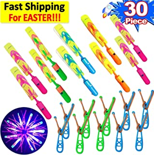 30 Piece LED Rocket Light Up Toys 15 Slingshot Arrows Rocket +15 Helicopter Flying Toy for Kids Boys Girls Glow in The Dark Party Supplies Arrow Rocket Helicopter Copters Outdoor Easter Toy Games