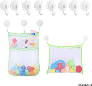 Bath Toy Organizer Set - 2x Mesh Bags (Size XL and L) - 8 Extra Strong Grip Lock Suction Cup Hooks (Green) - Easy Storage of Bath Toys and Other Bathroom Items - Mesh Bags Allow Content to Dry