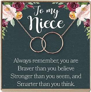 Dear Ava Niece Necklace: Niece Gift from Aunt, Niece Gift, Niece Charm, Niece Wedding Gift, Niece Confirmation, Niece Birthday, 2 Interlocking Circles