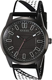 Guess Mens Quartz Watch, Analog Display and Leather Strap - W1300G2