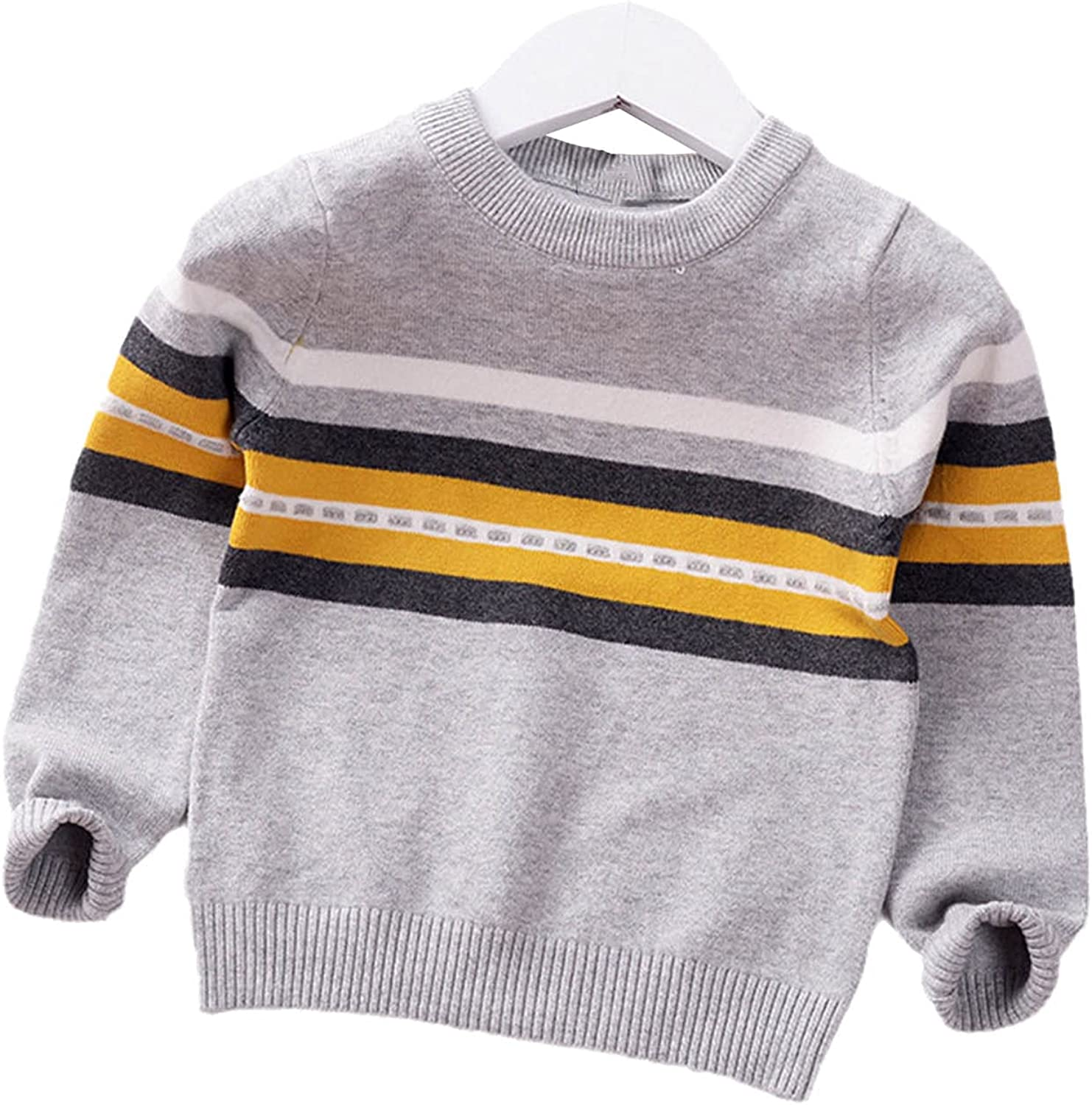 Yiqinyuan Boys Sweater Pullover Autumn Winter Kids Striped Children Baby O-Neck Sweater Fashion Clothes Toddler Jumper