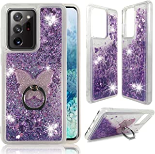 Zase Samsung Note 20 Ultra Clear Case, Liquid Glitter Sparkle Bling Compatible with Galaxy Note 20 Ultra 5G 6.9-inch Cute ...