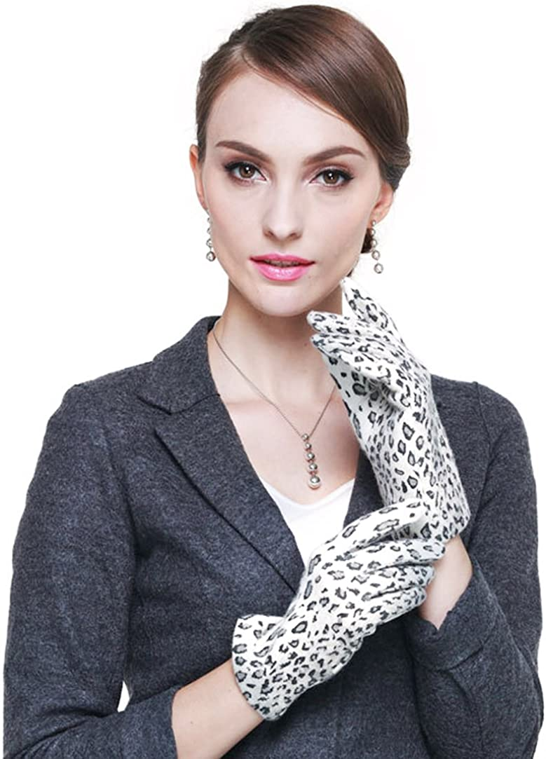 Womens Winter Warm Thick Knit All Leopard prints Gloves Beige, white