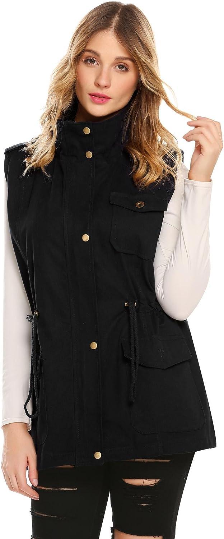 BULGES Womens Sleeveless Lightweight Quilted Zip Up Drawstring Jacket Vest