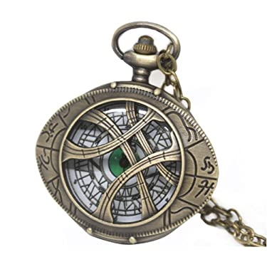 HUAWELL Doctor Strange Necklace Eye of Agamotto Eye Theme Pocket Watch New Creative Hollow Antique Pocket Watch
