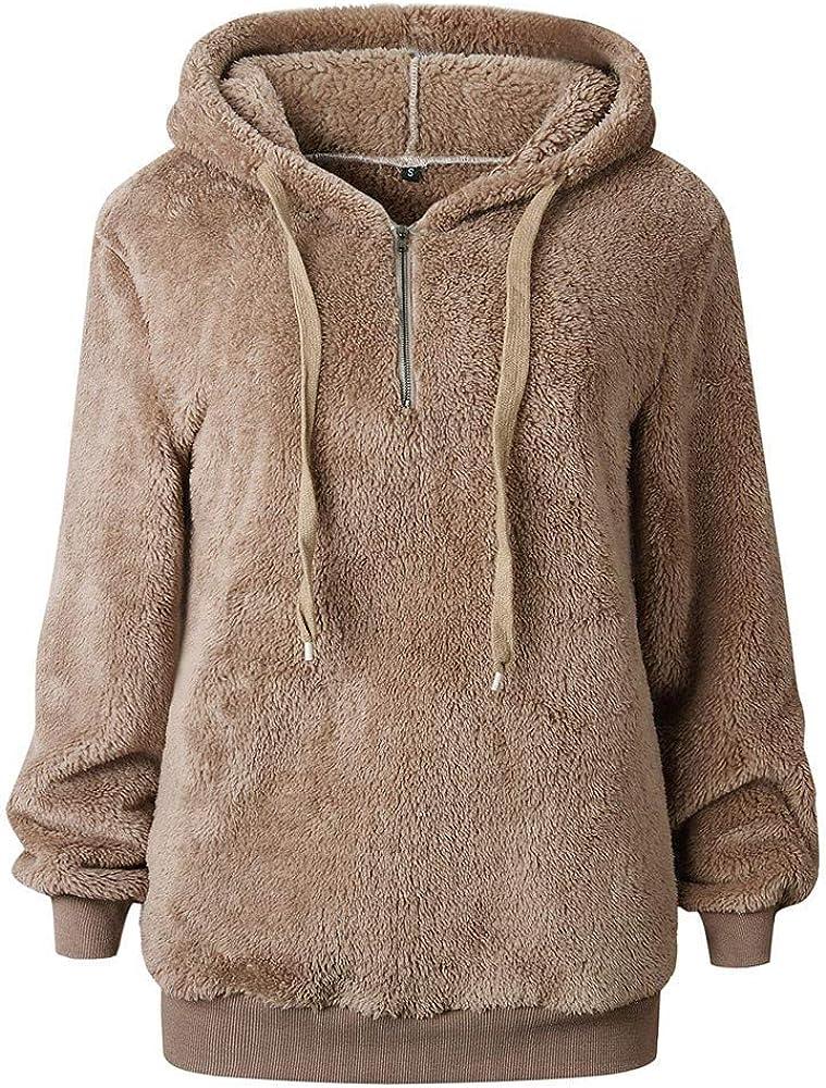 POPLY Damen Herbst Winter Kapuzenpullover Hoodie Pullover Teddy-Fleece Mantel Langarmshirt Sweatshirt Mit Kapuze S-5XL Leichtes Khaki