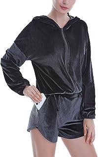 COOrun Sweatsuits Set Womens 2 Piece Sweatshirt & Sweatpants Velour Full Zip Hoodie Tracksuits Sportswear with Pocket