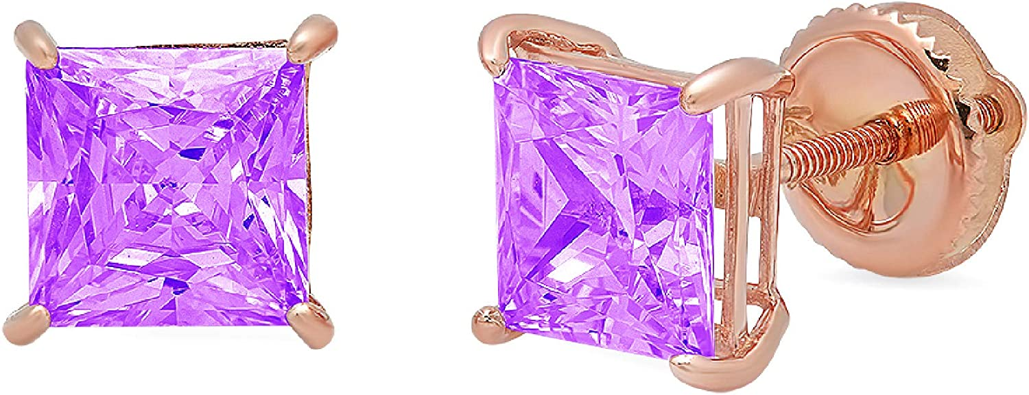 1.9ct Princess Cut Solitaire Natural Purple Amethyst VVS1 gemstone Unisex Designer Stud Earrings Solid 14k Rose Gold Screw Back conflict free Jewelry