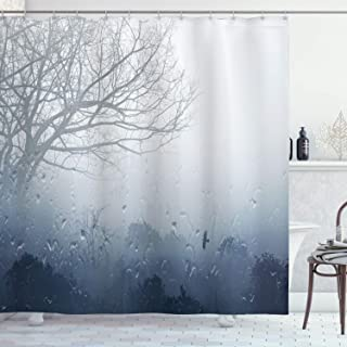 Ambesonne Forest Shower Curtain, Raindrops Mystic Foggy Scenery Romantic Window Water Melancholia Therapy Lonely Tree, Cloth Fabric Bathroom Decor Set with Hooks, 70