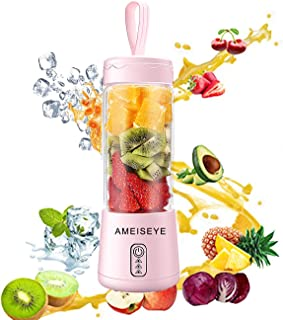 Portable Blender - Personal Size Juicer Cup Fruit Shakes Smoothie Mixer with 2600mAh Rechargeable Battery, Six Blades for Home,Travel,Sports,Gym (Pink)