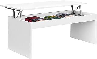 Mesa de Centro Elevable, Modelo Zenit, Mesita Salon Comedor, Acabado en Blanco Brillo, Medidas: 102 cm (Ancho) x 43/54 cm ...