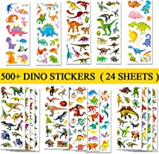 BEESTECH 500+ Dinosaur Stickers for Kids Boys Girls Toddlers, Teacher Reward Stickers, Potty Chart Training Stickers, Dinosaur Party Favor & Supplies, Dinosaur Favor Bags Hats Goody Gift Bags Boxes
